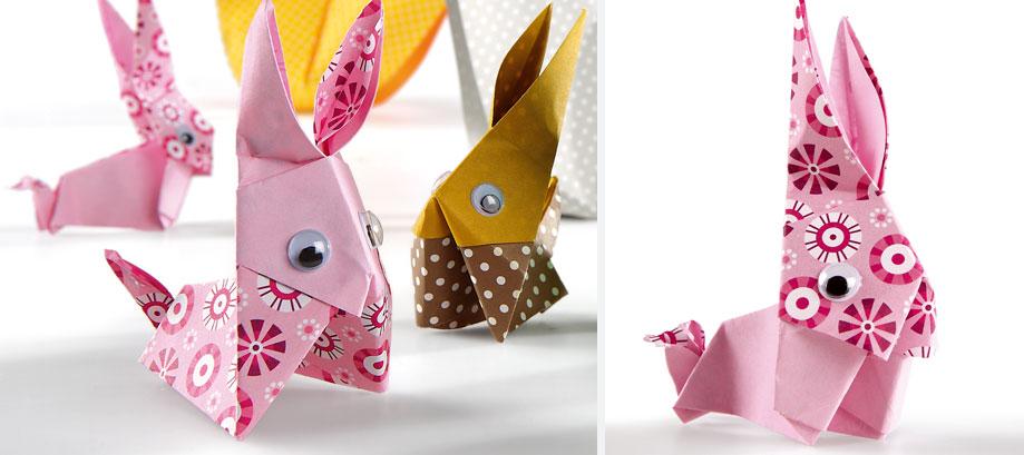 lapin en origami pour p ques avec wesco. Black Bedroom Furniture Sets. Home Design Ideas
